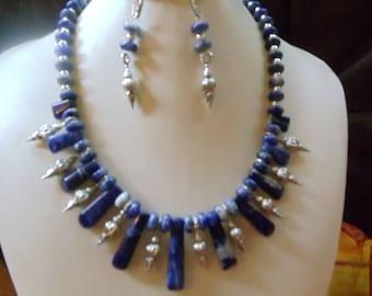 Sodalite 3-piece jewelry set statement jewelry