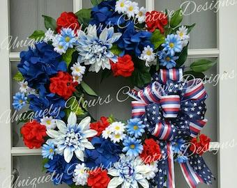 Patriotic Floral Wreath, Patriotic Flag Wreath, Navy Wreath, Americana Flag Wreath, Fourth of July Wreath, Memorial Day Labor Day Wreath