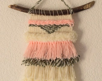 Weaving, woven hanging pink Heather grey wool weaving, woven hanging, coral weaving