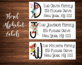 Alphabet Address Labels, Monogram Address Labels, Family Name Address Labels, Mailing Labels