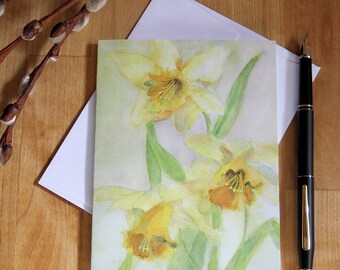 Spring Daffodils Note Card Blank Easter Flower Notecard Thank You Birthday Mother's Day Watercolor Greeting Card  All Occasion