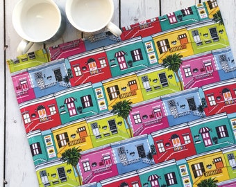 Colourful Bo-Kaap Houses Tea Towel
