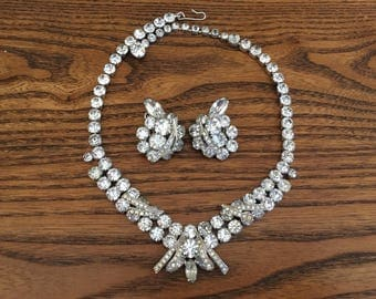 Signed Weiss Clear Rhinestone 1940-50s  Necklace and Earring Set- Wedding 1066