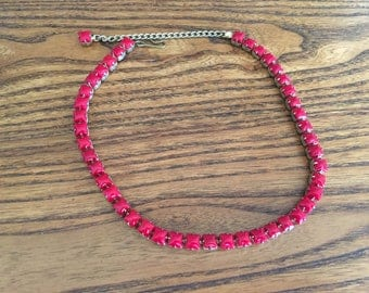 Vintage Opaque Ruby Red Glass Rhinestone Chicklet Choker Necklace 1181