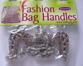 Metal Bag Frame with Chain Strap Small Handbag Evening Kiss Lock Clasp Clutch Shoulder Bag Purse Making sew in channel Silver