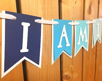 custom I AM 1 high chair banner, first birthday, birthday banner, one banner, 1st birthday, 1st birthday banner, highchair banner,cake smash