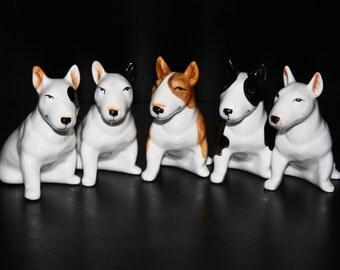 Bull terrier dog porcelain figurine handmade  statuette - black and white, white, white with black ear