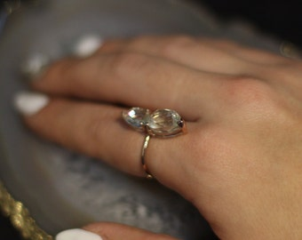 Green Amethyst Double Pear Ring