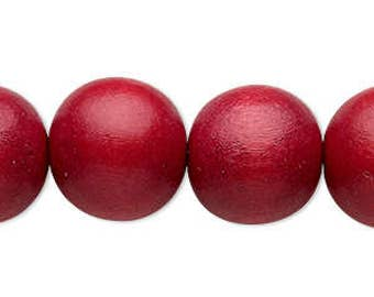 Red Wood Bead, Cranberry Red, Round Bead, 16mm, 6 each, D987