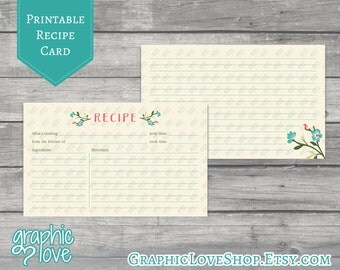 Teal Flower Printable 3x5 Double Sided Recipe Card | Digital JPG Files, Instant Dowload