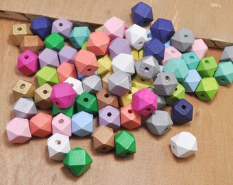 50pcs Colorful Wood Beads, Polygonal 15mm Hand painted Beads, Make jewellery for selling,14 Hedron Geometric Natural Wood Beads.