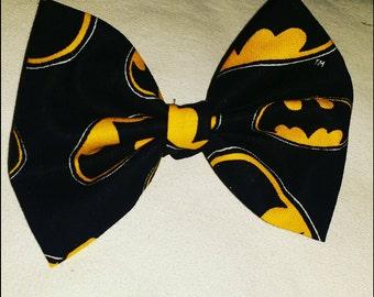 yellow and black batman bow, themed hair bow