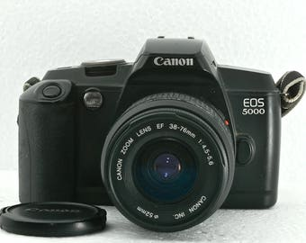 Canon EOS 5000 SLR 35mm Film Camera  Canon Zoom Lens EF 38-76mm 1: 4.5-5.6. Lens Cap and  Shoulder Strap Student Photography