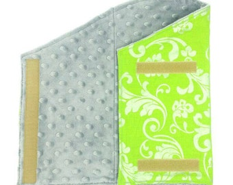 Lime green floral pattern with plush gray lining for bearded dragon/reptile/pet robe/wrap/blanket