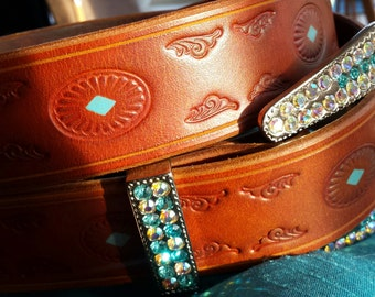 Show belt turquoise * bling * tooling saddle tan