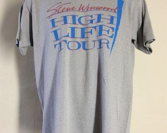 Vtg 1986 Steve Winwood High Life Tour Concert T-Shirt Gray L/XL 80s Pop Rock Traffic