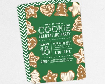 Cookie Decorating Party Invitations, Gingerbread Invitations, Holiday Party Invitations, Cookie Exchange Invitations, Cookie Swap Invitation