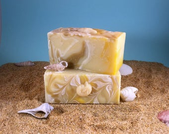 Sage Citrus Soap / Essential Oil Homemade All Natural Soap, Scented Babassu Cocoa Butter Soap,  Lemongrass