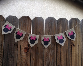 Minnie Mouse Burlap Banner