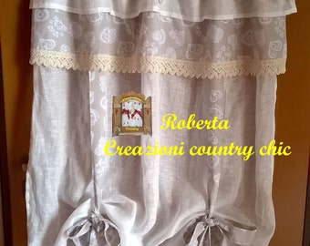 Shabby-chic curtain, country linen curtain with valance, provence style, cottage style, tyrolean style, with laces