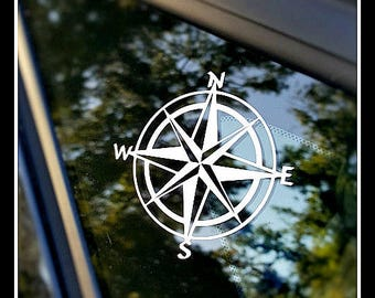 Compass decal, window decal, car decal, laptop decal, explorer decal, Nautical decal, vinyl decal, compass