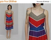 On Sale Vintage 70s Plaza 9 Bold CHEVRON Stripe A Line Hippie Boho Retro Sun Dress S