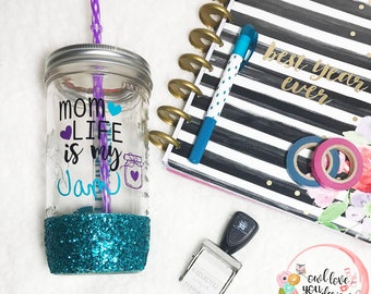 Mom Life is my Jam- Mason Jar Tumbler- Glitter Dipped Tumbler- Personalized Mason Jar- Glitter Tumbler- Travel Cup- Jar- Mom Life