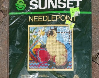 Siamese in The Parlor, Beth Reinstra, Sunset Needlepoint Kit No. 5506, Crewel Embroidery, Vintage,  New Sealed Kit, Cat Crewel, Siamese Cat