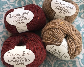 Debbie Bliss DONEGAL Luxury Tweed ARAN Yarn + Free Quick Patterns - 6.50+.99ea Ship Camel 43, Red Chestnut 44 Soft Against Skin. MSRP 10.95.