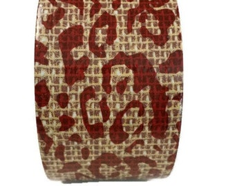 Red Cheetah print duct tape, scrapbook supplies, decorative duct tape, burlap print duct tape, duct tape wallet, duct tape roll
