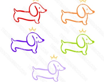 Dachshund Decal | Wiener Dog Decal | Doxie Decal With A Crown | Royal Dachshund