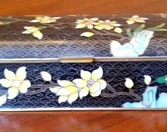 Vintage Cloisonne Metal enamel Jewellery or Trinket Box
