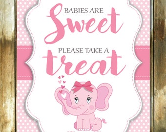 Babies are Sweet please take a treat Table sign, baby shower sign, baby shower sign, printable table sign, pink baby girl sign, pink or blue