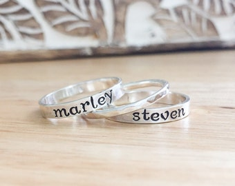 Hand Stamped Ring - Sterling Silver Stacking Rings - Silver Name Rings - Stacking Name Rings - Personalized Ring - Wife Birthday Gift -