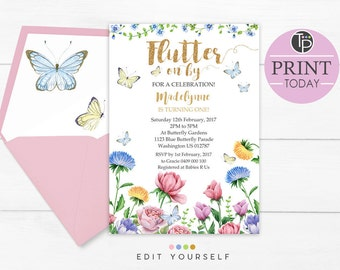 BUTTERFLY BIRTHDAY INVITATION, Butterfly Invitations, Instant Download, Butterfly 1st Birthday Invitation, Butterfly Garden invitation