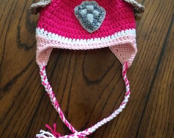 Skye Paw Patrol crocheted pink ear warmer hat
