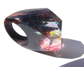 Wooden epoxy ring. kingwood. Womens wooden ring. Multicolored, transparent with sparkles wooden ring