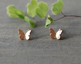Butterfly Earrings, Butterflies, Gold Butterfly Earrings, Simple Earrings, Tiny Studs, Little Gold Studs, Gold Butterfly Earrings
