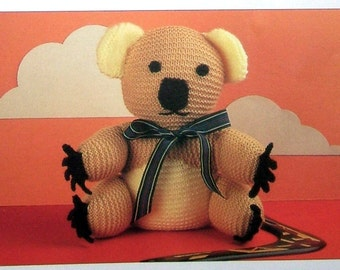 """Instant PDF Download Vintage Row by Row Knitting Pattern to Easy Beginner's Baby 12 """" Cuddle Toy Stuffed Soft Body Koala Bear in DK"""