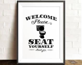 Please Seat Yourself Bathroom Wall Decor Printable Wall Art