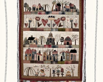 The Fairytale Cottages - wall hanging quilt PAPER / PHYSICAL pattern by MJJ, Quilt pattern
