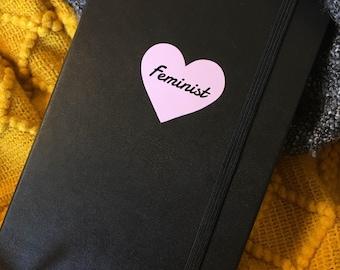 Pastel Pink Heart Feminist Vinyl Sticker