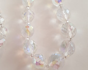 Vintage chunky clear faceted AB crystal glass bead necklace