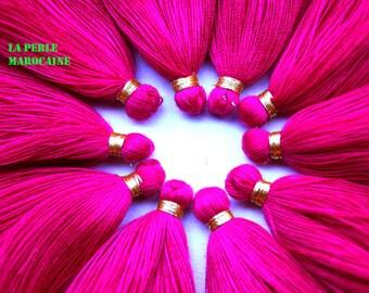 set of 10 SILKY TASSEL 4 cm pink and gold thread 100% acryl craft tassel