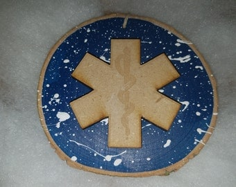 Star of Life gifts,Star of Life Ornaments,EMT Ornaments,Christmas Ornaments,Handmade Ornaments,Hand Painted Ornaments,Wood Disk Ornaments