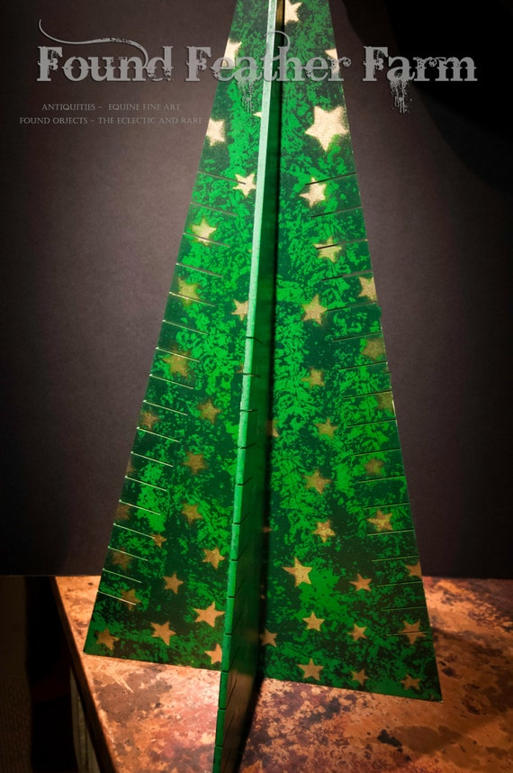 Clever Handpainted Wooden Christmas Tree Holiday Card Holder