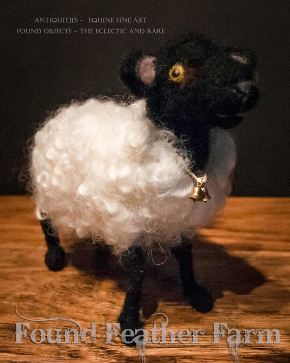 Handmade Needle Felted English Suffolk Sheep with Tiny Bells