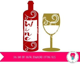 Wine Bottle And Wine Glass SVG Cutting File For Cricut Explore / Silhouette Cameo And PNG Clipart, Digital Download. Commercial Use Ok