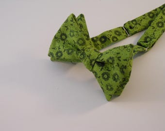 Moss Green Floral Bow Tie