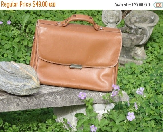 Football Days Sale Price Reduced! Vintage Hartmann  English Tan Leather Combo Lock Briefcase